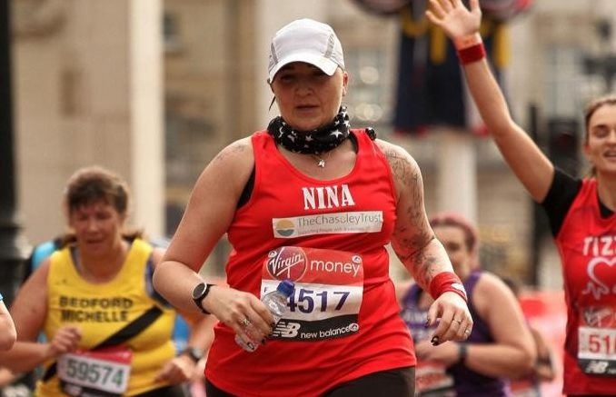 Nina running the Eastbourne Marathon for Chaseley Trust